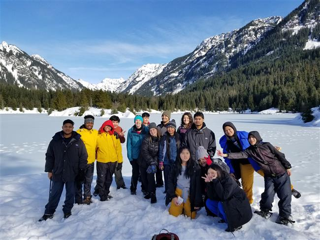 Rainier Beach High School group at Gold Creek Pond