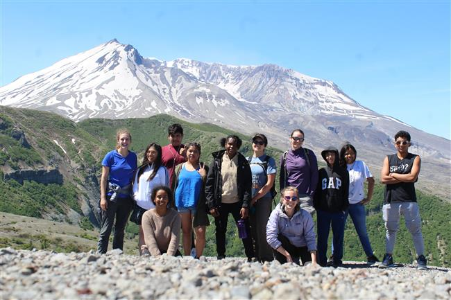 The whole group at Windy Ridge, Mt. St. Helens