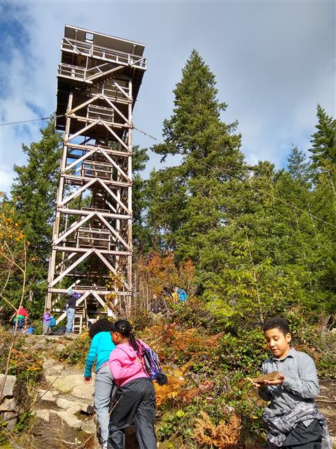 Finally at the top! Madrona students take their last steps up the trail towards the lookout tower.